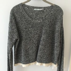 White & black sweater w/ lace (Urban Outfitters)